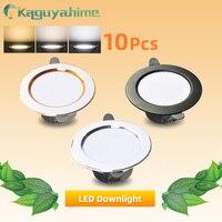 Kaguyahime-luz descendente LED blanca Natural/cálida/fría, 5W, 3W, CA de 220V, 240V, iluminación empotrada redonda para interiores de plata, 10 Uds.