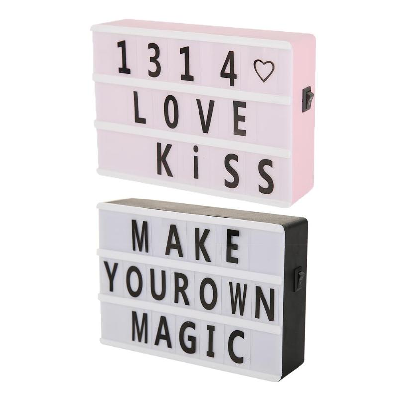 Light Box Lamp A6 Size LED Combination Night Light Box Lamp DIY Black Letters Cards AA Battery Cinema Lightbox