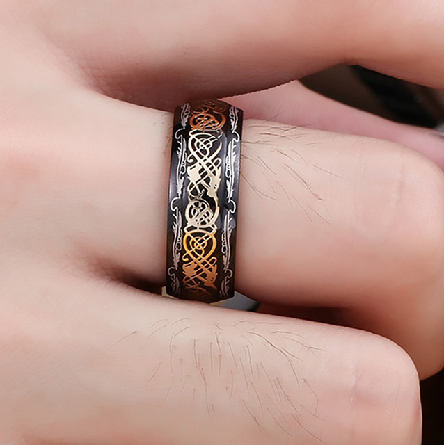 2020 New Arrive Fashion 316L Stainless Steel Golden Dragon Man's Ring Blu-ray Simple Fashion High Quality Jewelry 1