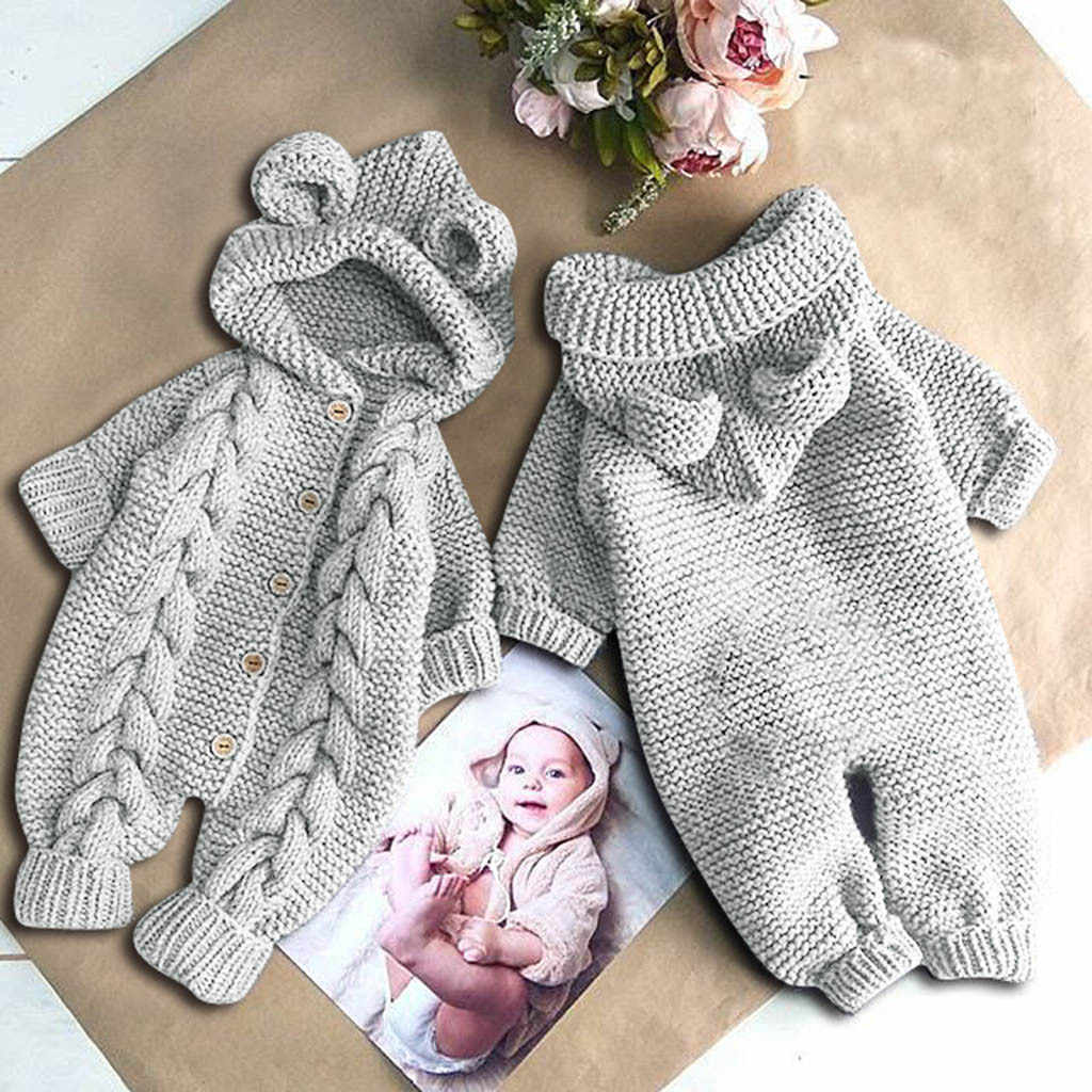 2020 Newborn Infant Baby Girl Boy Winter Warm Coat Knit Outwear Hooded Jumpsuit quality xmas long sleeve baby knitted rompers