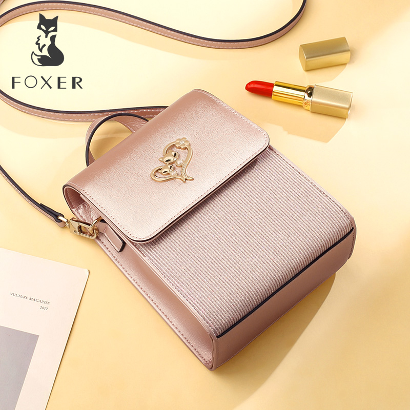 FOXER Brand Girl's MINI Crossbody Bags Women Evening bag Lady Cellphone Bags Female Leather Shoulder Bag Valentine's Day Gift