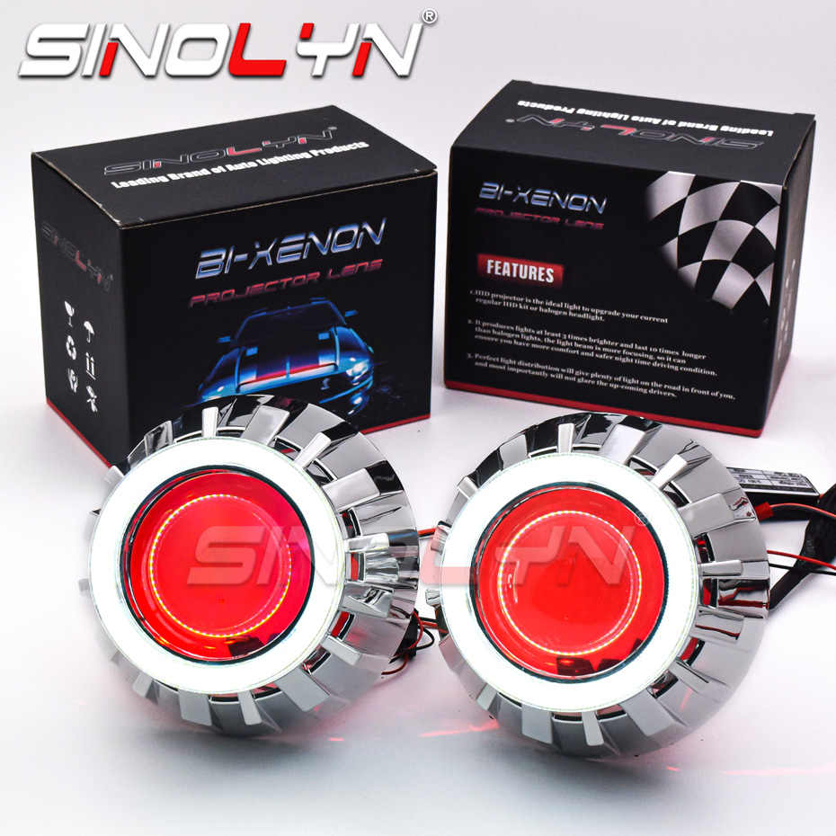Светодиодсветодиодный фары Sinolyn с ангельскими глазами Devil 2,5, линзы для фар, биксеноновые линзы с кольцом Halo, HID проектор для H4/H7, автомобильные аксессуары