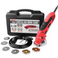 Hi spec 400W Mini Circular Saw Muti Function Electric Saw 6 Blades Power Tools with Depth Guide Blade Guard Dust Tube in BMC Box