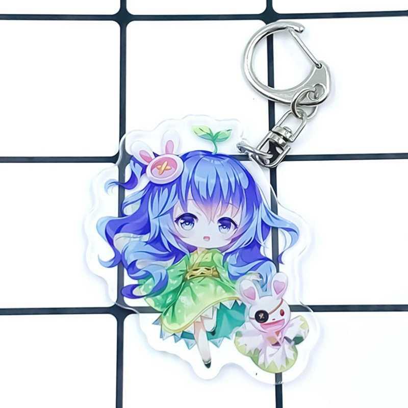 Anime TARİH CANLı Tokisaki Kurumi Anahtarlık Cosplay Akrilik Anahtar halka kolye Hediye