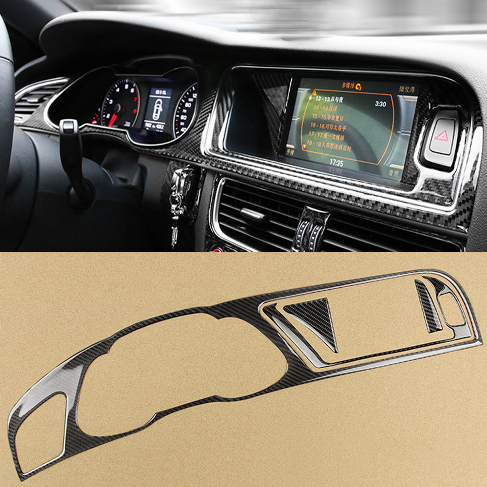4x Real Carbon Fiber Car Dashboard Instrument Navigation Panel Stickers Car Trim For Audi A4 B8 2009-2016 Car Styling Accessory