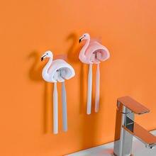 Влагостойкий настенный держатель для зубной щетки в виде фламинго