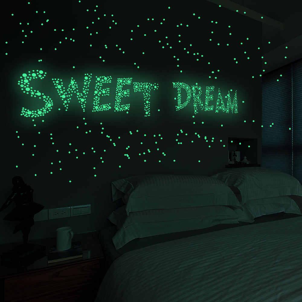 202 pz/set 3D Bolla Stelle Luminose Dots Wall Sticker camera dei bambini camera da letto decorazione della casa della decalcomania Glow in the dark FAI DA TE adesivi