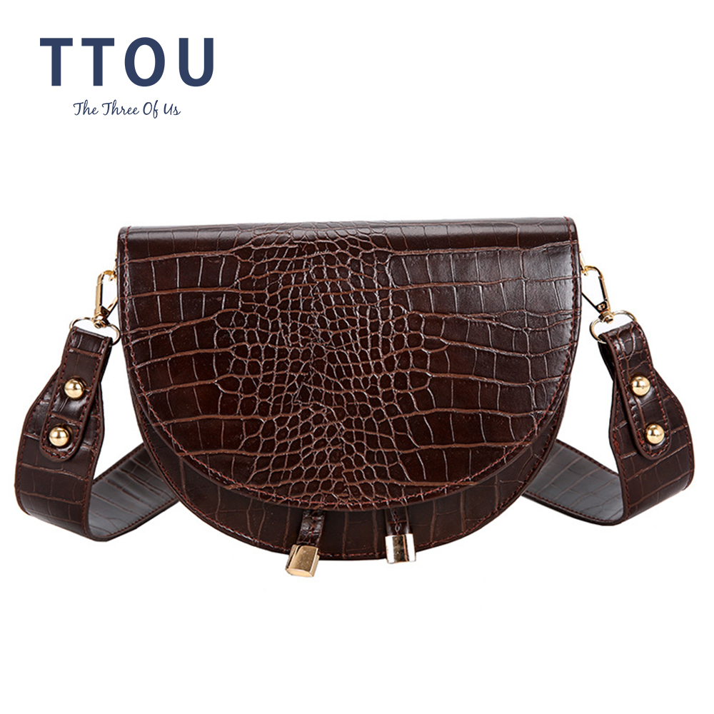 Retro Alligator Pattern Over The Shoulder Bag Crocodile Semicircle Saddle Bags Soft Leather Crossbody Bags For Ladies Handbags