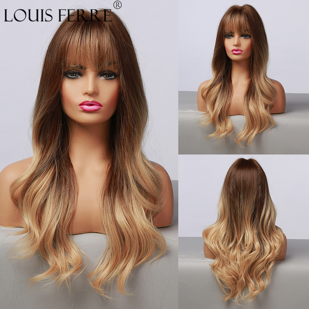 LOUIS FERRE Blonde Ombre Wig for Women Synthetic Long Wave Wigs with Bangs Honey Brown Hair Wig Heat Resistant Daily Cospaly Wig