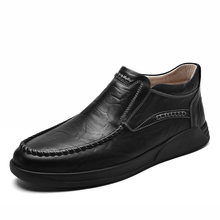 Genuine Leather shoes Men Plus velvet Loafers Business Casual Shoes Classic Soft Moccasins Breathable Flats %8701