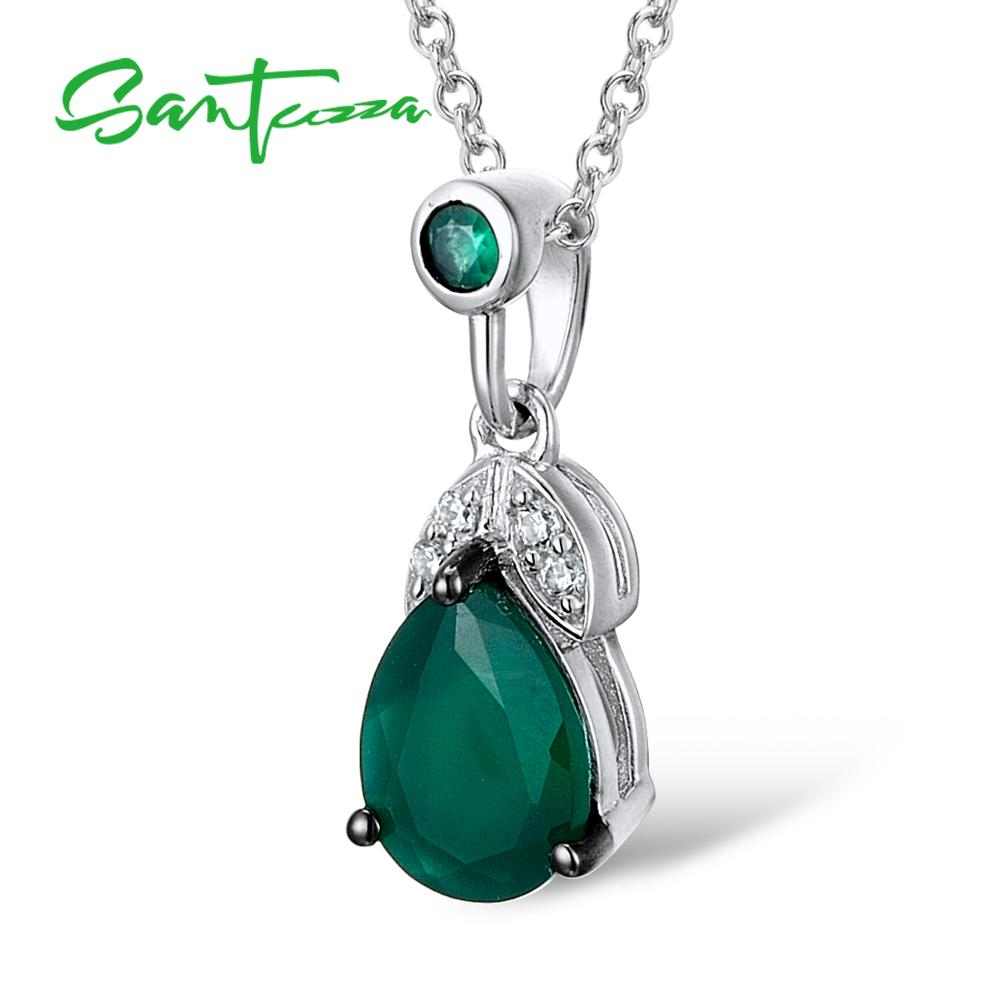 SANTUZZA Silver Pendant For Women Pure 925 Sterling Silver Pear Green Chalcedony Anniversary Gift Party Pendant Fine Jewelry