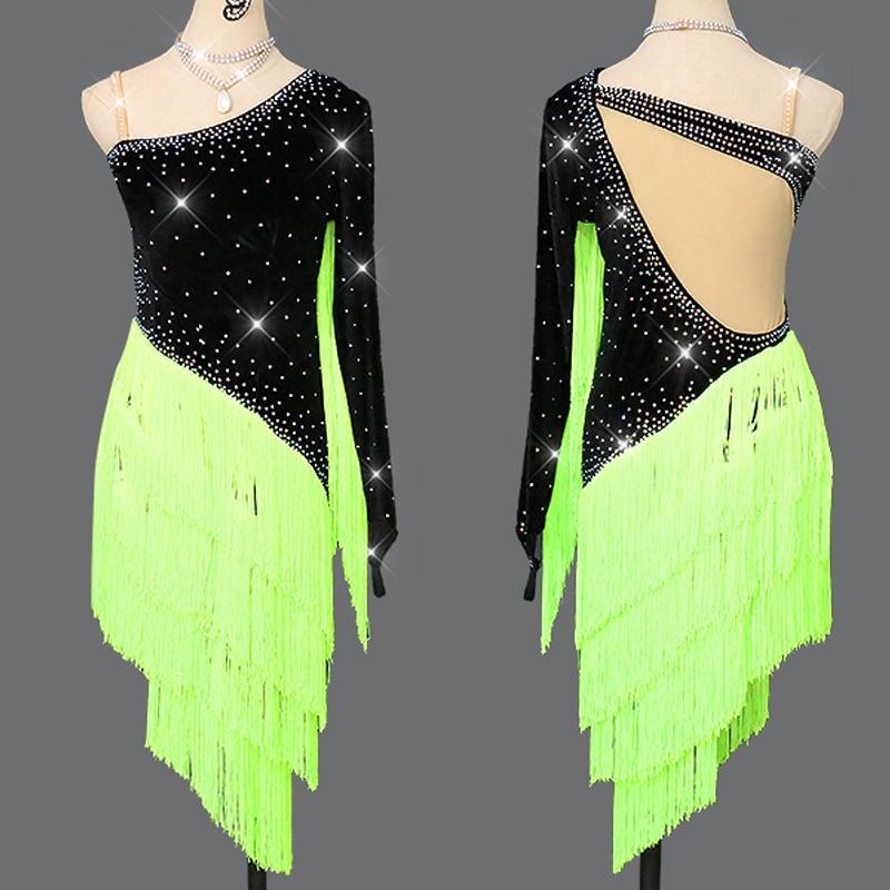 Latin Dance Dress 2019 New Fluorescent Green Tassels Autumn Dress Women Dance Competition Costume Rhinestones Dresses Fringe Dress Salsa Dance Clothes Kids Dresses For Girls Performance Rumba Ladies Latin Dress BL2654