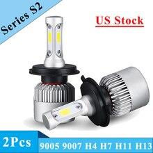 S2 H7 H11 H1 H3 9005 9006 COB רכב LED פנס נורות H4 Hi Lo קרן 72W 8000LM 6500K/4300K אוטומטי פנס Led רכב אור 12V