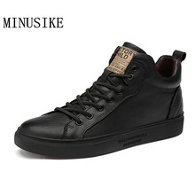 Winter Men's  Shoes Warm Genuine Leather Male Waterproof Shoes High Top Mans Casual Shoes For Men Boots Footwear Male Sneakers