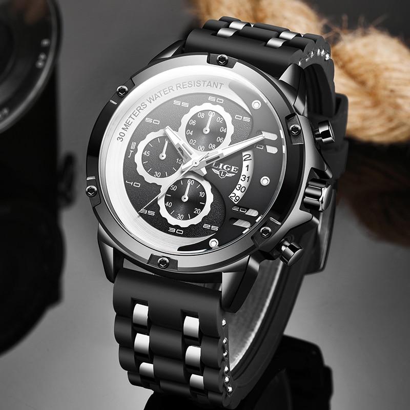 2020 Men Watches LIGE Top Brand Luxury Luminous Display Waterproof Watches Sport Chronograph Quartz WristWatch Relogio Masculino