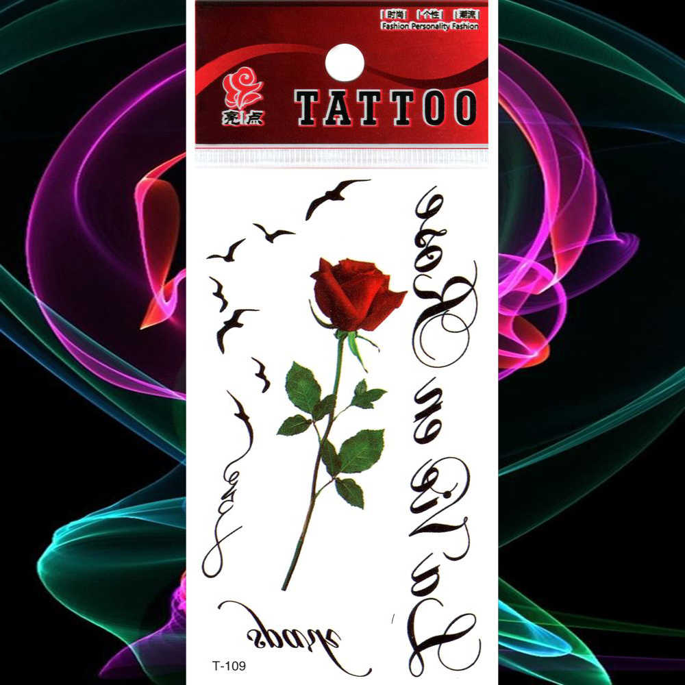 Tahan Air Tato Bunga Mawar Merah Tato Stiker Burung Huruf Palsu Tatto Wanita Gadis Lengan Tubuh Seni Tangan Flash Tato Tatouage Aliexpress