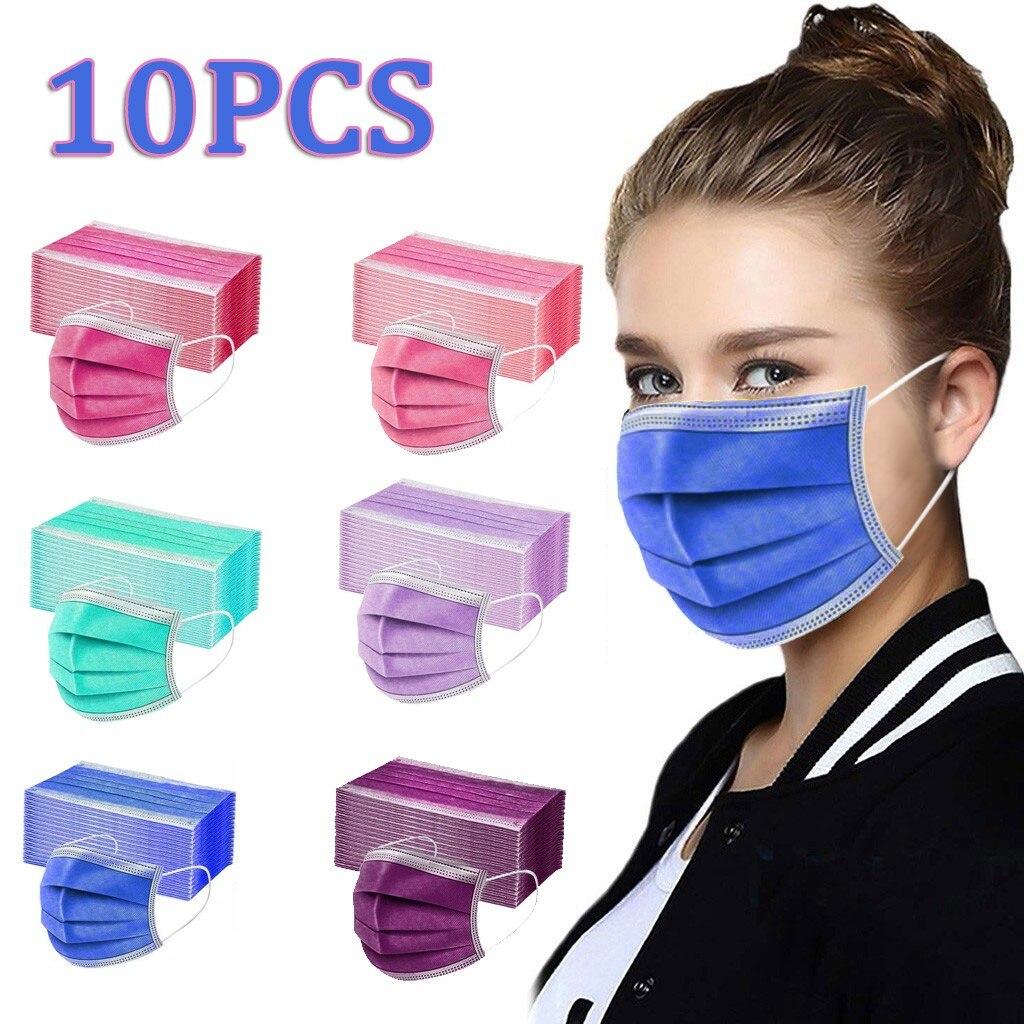 10 шт. зеленый розовый одноразовая маска для лица Mascarilla Mascarar сильный маски для лица мелтблаун 3-слойные фанерные Cubre бока Mondmasker Mascarillas