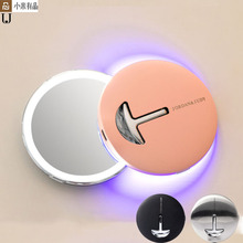 Youpin HD مرآة تجميل مع لمبة ليد LED اللون الأزرق ضوء مرآة لمستحضرات التجميل صغيرة محمولة تعمل باللمس التحكم الاستشعار مرآة للماكياج الجمال
