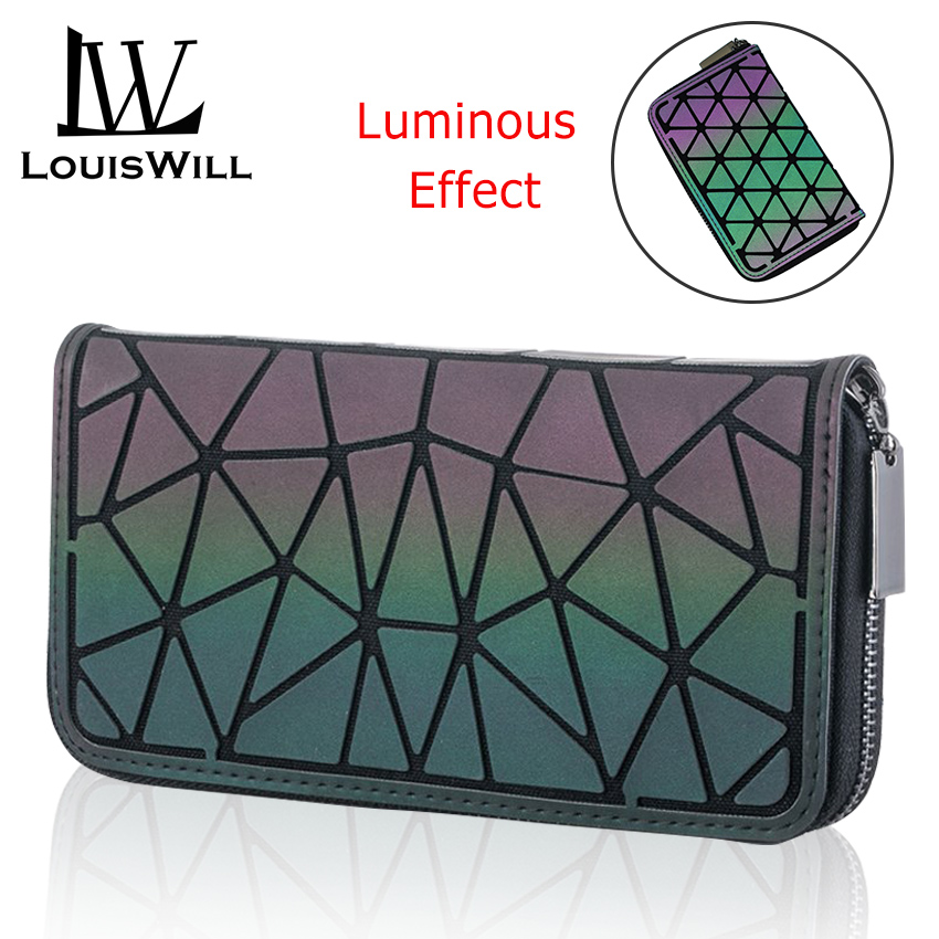 LouisWill Women Wallet Fashion Geometric Ladies Bags Luminous Long Purse Clutch Bag Cards Bag Holographic Reflective Handbags