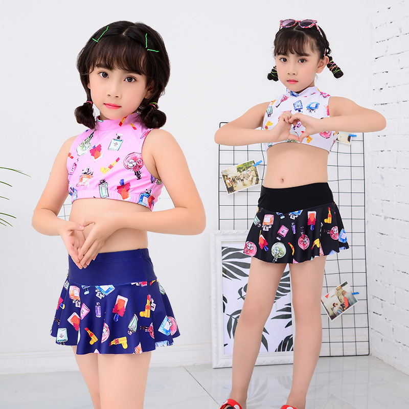 New Style CHILDREN'S Swimwear GIRL'S Two-piece Swimsuits Cute Princess Young STUDENT'S Cartoon Quick-Dry Skirt Swimwear