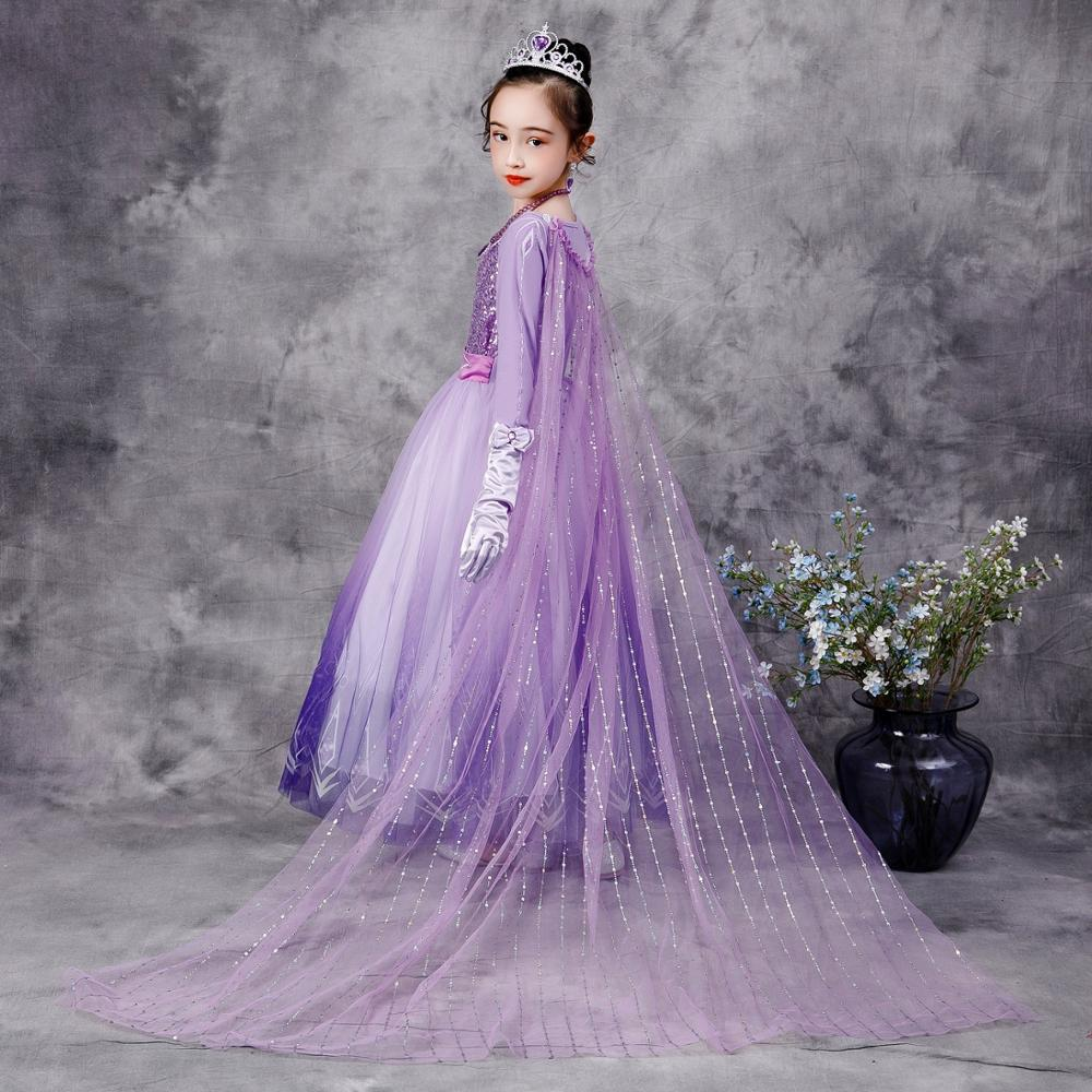 Girls Elsa Anna Long Hair Tangled Princess  Dress Sequins Fancy Cosplay Costume Purple Ball Gown Christmas Birthday Party  kids 3