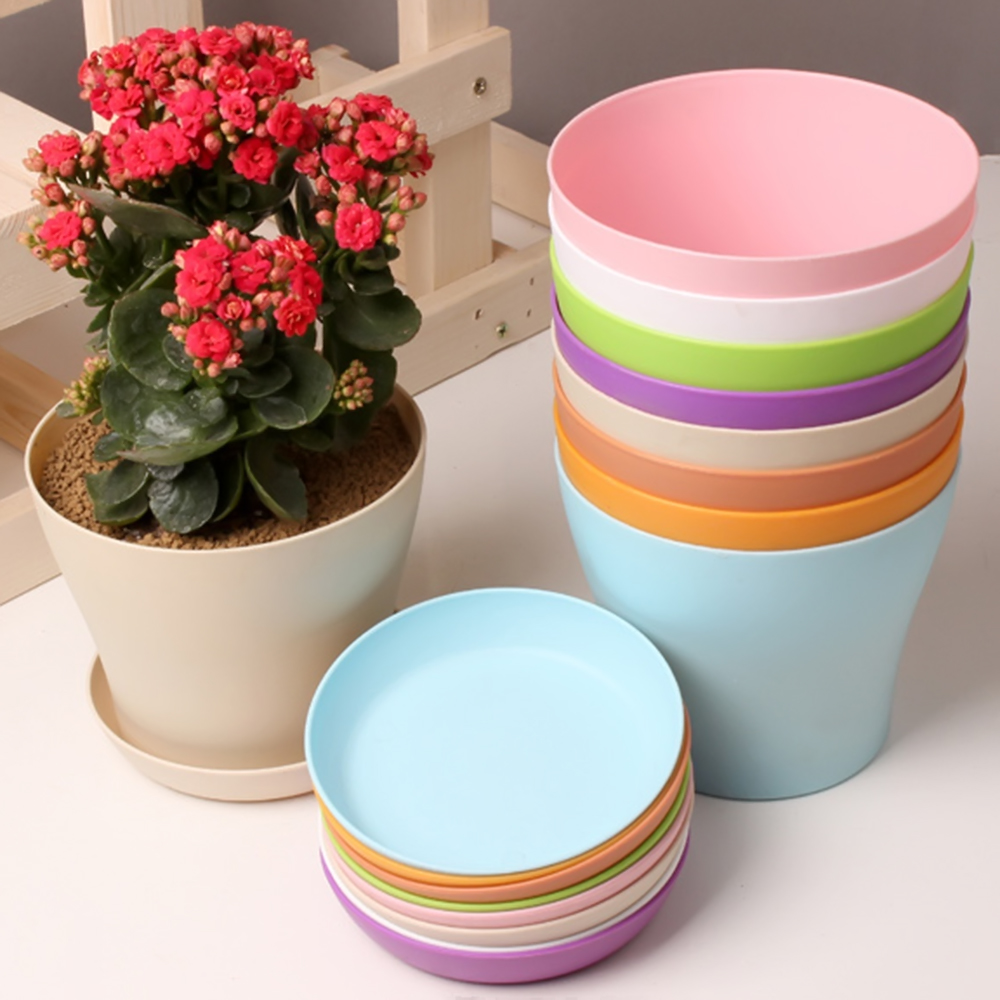1pcs FlowerPot Colorful Durable Resin Plant Flower Pot Gloss Planter Home Garden Decoration With A Saucer Tray Drainage Holes