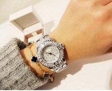 цена на 2019 New Women Rhinestone Watches Lady Dress Watch Diamond Luxury Brand Bracelet Wristwatch Ladies Crystal Quartz Clocks