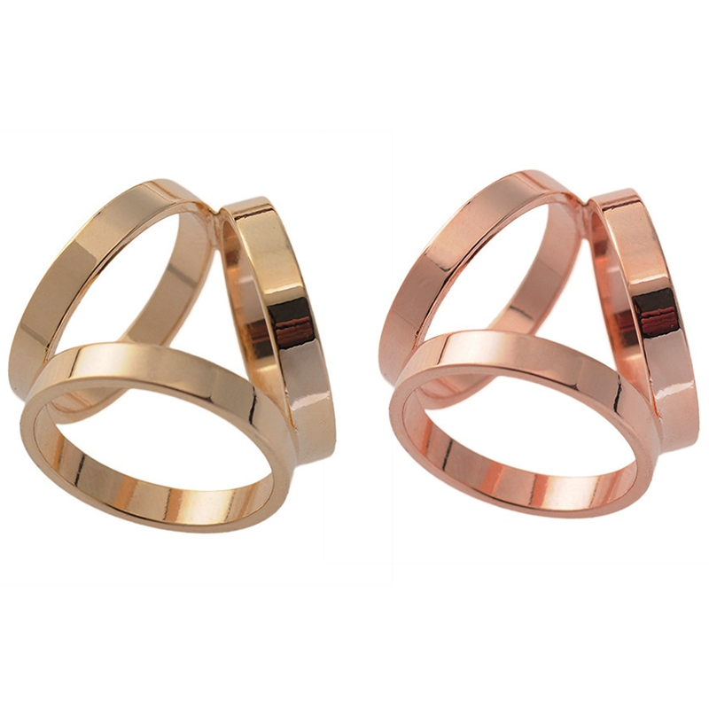 2 Pcs Fashion 3 Rings Silk Scarf Buckle Scarf Ring Clip, Gold & Rose Gold