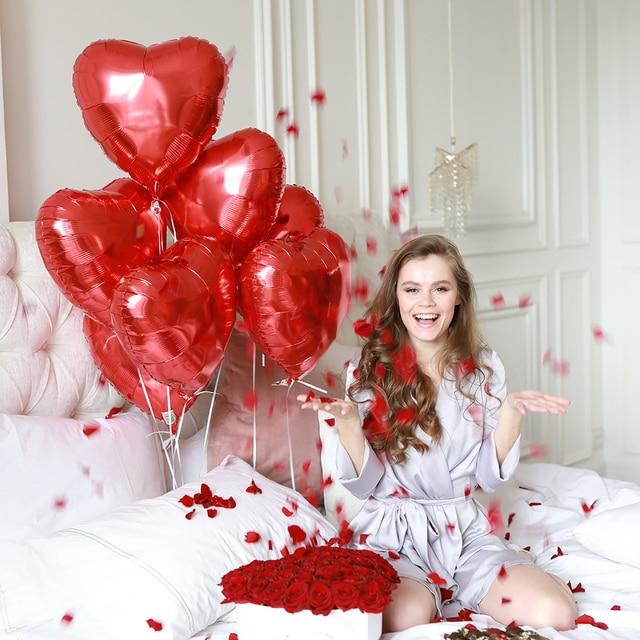 5 pièces 18 pouces coloré coeur feuille ballons amour hélium ballons saint valentin mariage fête danniversaire bébé douche décor fournitures