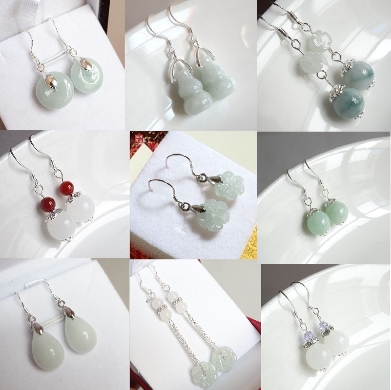Natural Emerald bead Jade DIY Earrings Charm Jewellery Fashion Accessories Hand-Carved Man ahd woman Luck Amulet Gifts