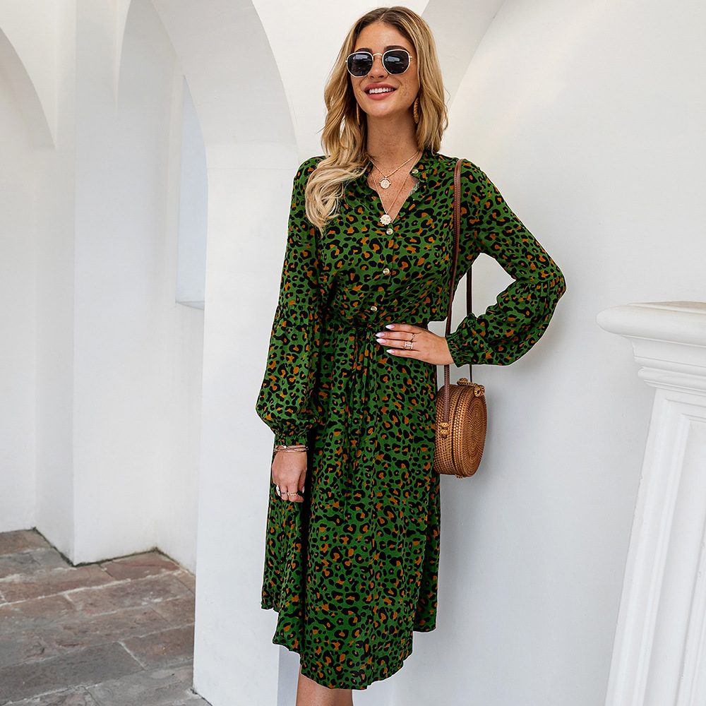 2020 Fashion Leopard Dress Women Spring Long Sleeve Print Lace Up Midi Dresses Yellow White Boho Green Holiday Beach Vestidos