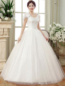 Ball-Gowns Wedding-Dresses Sleeves Vestido-De-Noiva Vintage Lace Long Train Princesa