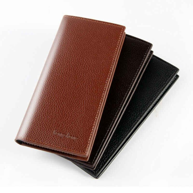 Carteira de negócios longo masculino seção transversal couro peito bolso cartão terno carteira longa carteira carteira carteira livro de cheques