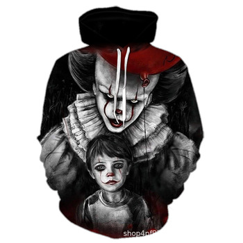 Cool 3D printing hoodies men and women clothing Halloween creative clown 3d zipper hoodie personality