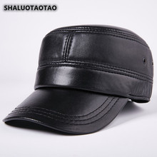 SHALUOTAOTAO Trend Mens Flat Cap Snapback New Autumn Winter Fashion Sheepskin Military Hats Adjustable Size Genuine Leather Hat