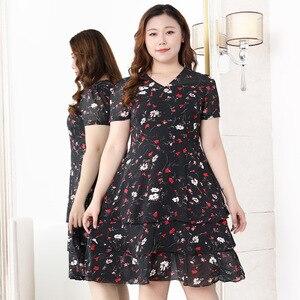 Женское платье большого размера с оборками и высокой талией, шифоновое платье с цветочной печатью, женские летние тонкие элегантные Клубные вечерние платья