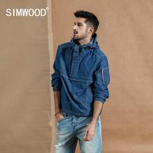 SIMWOOD 2019 Autumn New Half-zip Pullover Jacket Men Fashion Hoodie Denim Like Hooded Coats High Quality Jackets 190357