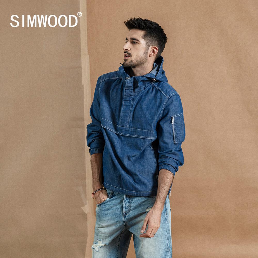 SIMWOOD 2020 Spring New Half-zip Pullover Jacket Men Fashion Hoodie Denim Like Hooded Coats High Quality Jackets 190357