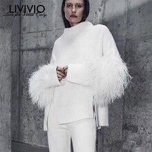 [LIVIVIO] меховое вечернее платье с длинными кружевными рукавами, водолазка с разрезом по бокам, вязаные свитера женские пуловеры женские Зимние Модные трикотажные изделия