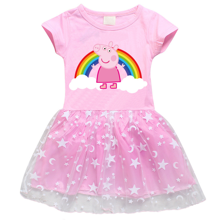 Peppa Pig Princess Summer Skirts Short Sleeve Dress Plush Cotton Girl Starmoon Cute Cartoon Lace Dress Skirt Clothing Toys