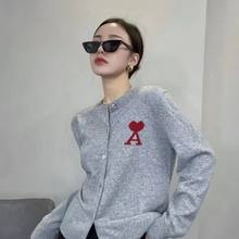 Spring and autumn letter sweater knitted cardigan button round neck loose thin top female