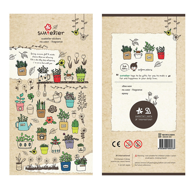 Sonia Potted Plant Decorative Stationery Stickers Scrapbooking DIY Diary Album Stick Label