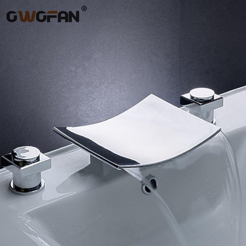 Robinet de lavabo moderne cascade salle de bains carré Chrome finition pont monté évier robinets double poignée trois trous mélangeur robinet S79-307