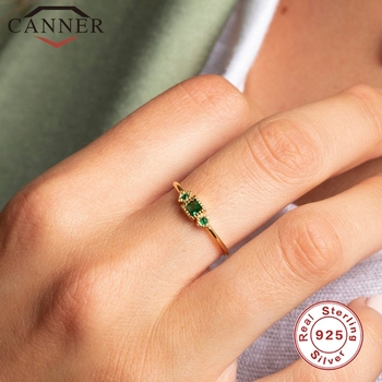 CANNER Real 925 Sterling Silver Rings for Women Luxury Vintage Green Zircon Female Ring Gold Color Fine Jewelry Gift anillos voroco 2019 real 925 sterling silver vintage london city rings for women fashion party wedding luxury fine jewelry gift bkr474