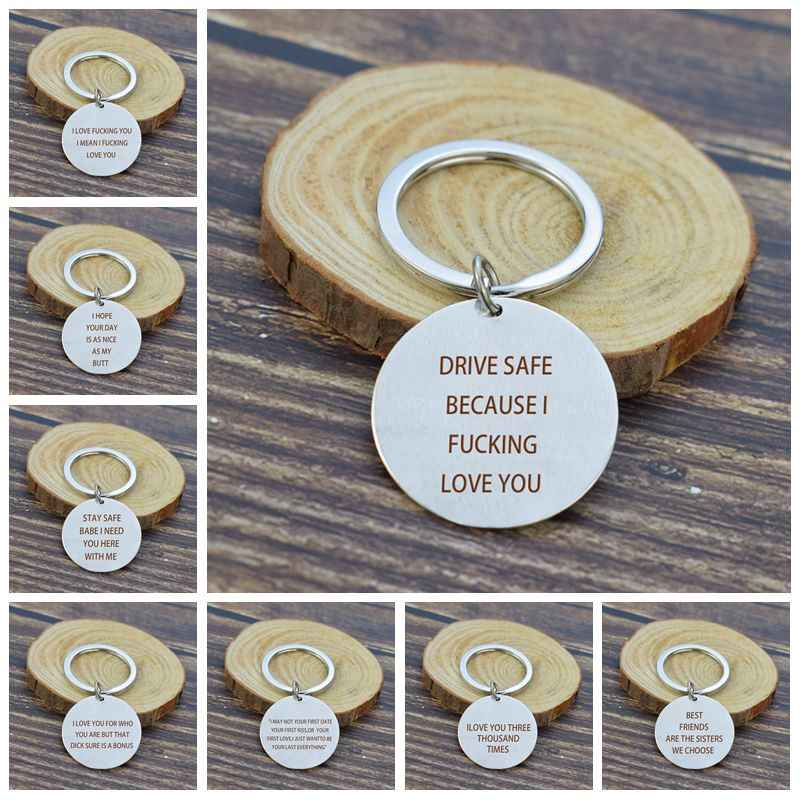 "Couples Metal Keychain "" Drive Safe Because I Love You "" Letters Engraved Metal Keyring Funny Couples Jewelry Gifts for Lovers"