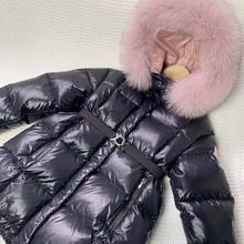 Г. Зимняя Черная куртка-пуховик зимняя одежда с мехом для девочек, теплая куртка, пальто густой пуховик зимняя верхняя одежда, детское пальто