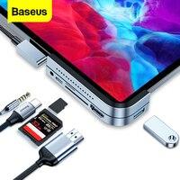 Baseus USB C HUB Für iPad Pro 2020 PD Typ C Docking Station HDMI-compatibe USB 3,0 Multi TF reader Splitter 3,5mm Jack Adapter