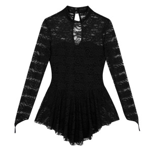 Image 3 - TiaoBug Adult Mock Neck Long Sleeve Soft Lace Ballet Gymnastics Leotard Women Figure Ice Skating Dress Competition Dance Costume