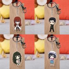 Anime steins porta chaveiro figura dos desenhos animados makise kurisu labmen chaveiro acrílico pendente