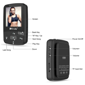 Image 5 - מקורי RUIZU X50 ספורט Bluetooth MP4 נגן 8GB קליפ מיני מוסיקה MP4with מסך תמיכת FM, הקלטה, ספר אלקטרוני, שעון, מד צעדים